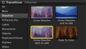 Dissolves or crossfades take both images and gradually fade them into one another