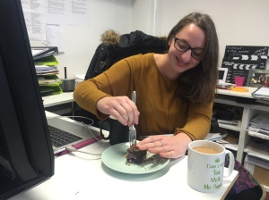 Emily enjoying a sugar-free honey, chocolate and hazelnut cake inspired by Ugne's baking