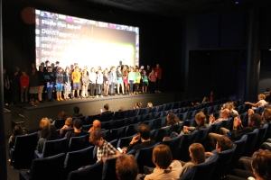 The filmmakers gathered up on stage in their crew groups to take a bow in front of an invited audience of family and friends